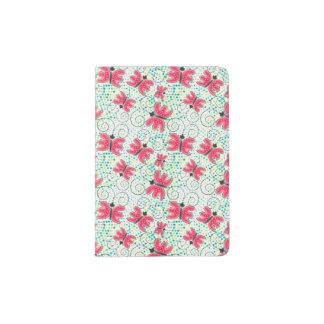 Pink cute doodle butterflies passport holder