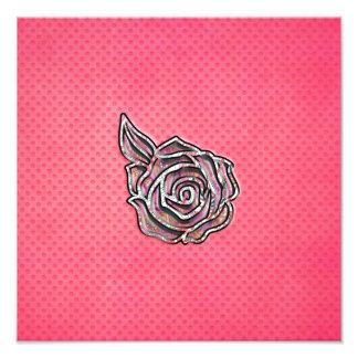 Pink cute girly floral polka dot pattern photo art