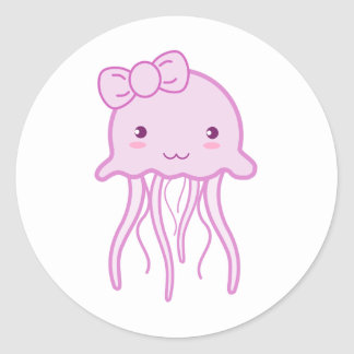 Pink Cute Jellyfish Classic Round Sticker
