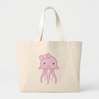 Pink Cute Jellyfish Large Tote Bag