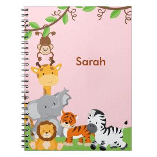 Pink Cute Jungle Baby Animal Notebook