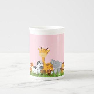 Pink Cute Jungle Baby Animals Bone China Mug