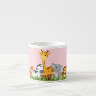 Pink Cute Jungle Baby Animals Espresso Mug