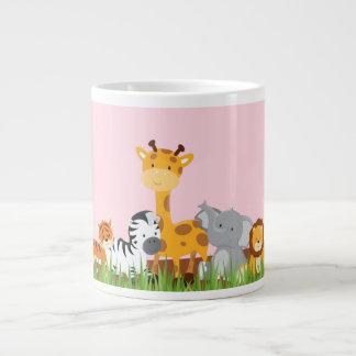Pink Cute Jungle Baby Animals Jumbo Mug