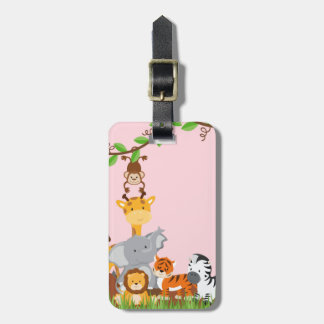 Pink Cute Jungle Baby Animals Luggage Tag
