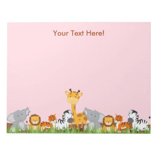 Pink Cute Jungle Baby Animals Notepad