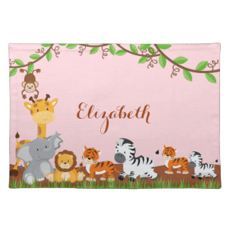 Pink Cute Jungle Baby Animals Placemat