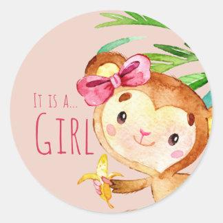 Pink Cute Monkey Baby Girl Announcement Round Sticker