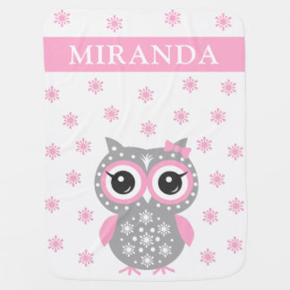 Pink Cute Owl Baby Girl Baby Blanket