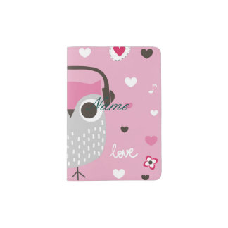 Pink,cute,owl,funny,girly,pattern,trendy,template, Passport Holder