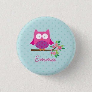 Pink Cute Owl Personalised Button