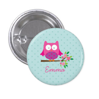 Pink Cute Owl Personalized Button