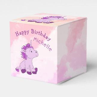 Pink Cute Unicorn Happy Birthday Name Favour Box