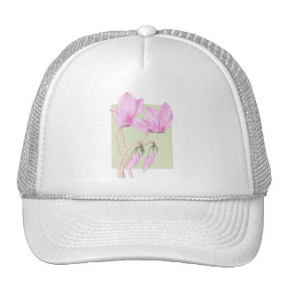 Pink Cyclamens green Hat