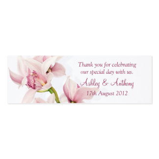 Pink Cymbidium Orchid Floral Wedding Favor Tags Pack Of Skinny Business Cards