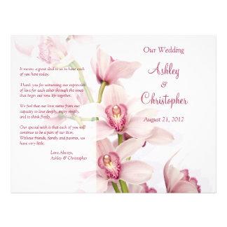 Pink Cymbidium Orchid Floral Wedding Program 21.5 Cm X 28 Cm Flyer