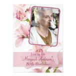 Pink Cymbidium Orchid Photo Birthday Invitation