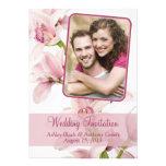 Pink Cymbidium Orchid Photo Wedding Invitation