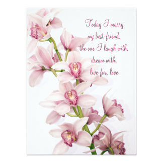 Pink Cymbidium Orchid Wedding Invitation