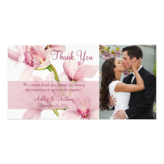 Pink Cymbidium Orchid Wedding Thank You Photocard Card