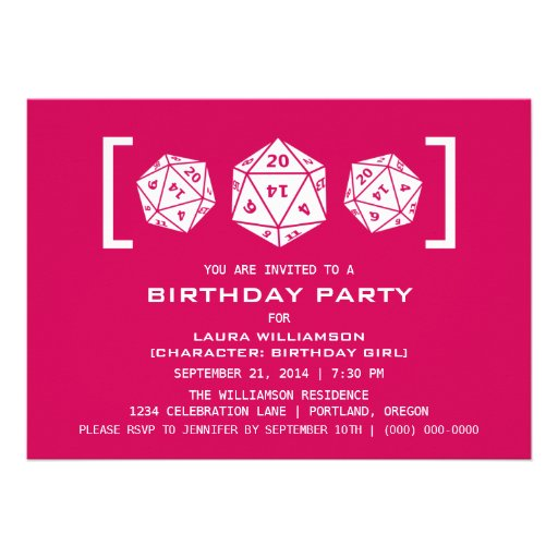Pink D20 Dice Gamer Birthday Party Invite