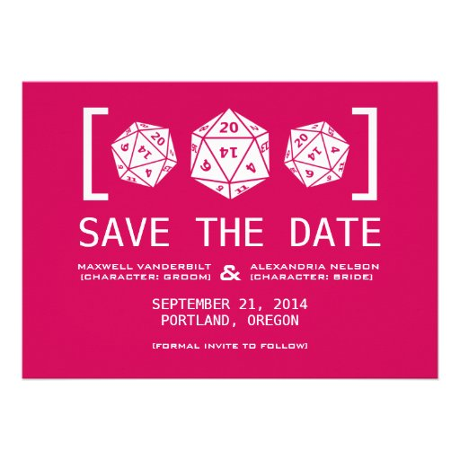 Pink D20 Dice Gamer Save the Date Invite
