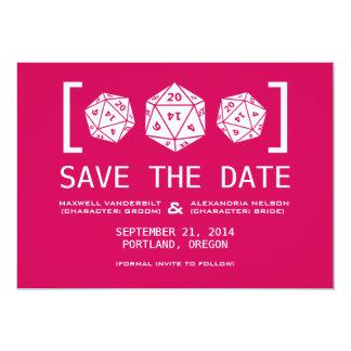 "Pink D20 Dice Gamer Save the Date Invite 5"" X 7"" Invitation Card"