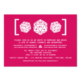 Pink D20 Dice Gamer Wedding Invitation