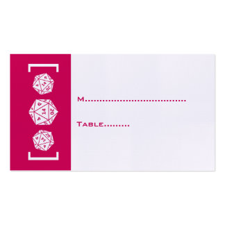 Pink D20 Dice Gamer Wedding Place Card Pack Of Standard Business Cards