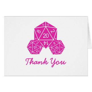 Pink D20 Dice Thank You Card