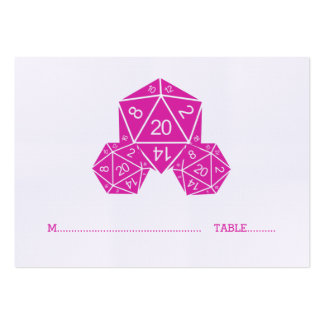 Pink D20 Dice Wedding Place Card Pack Of Chubby Business Cards