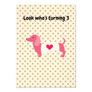 Pink Dachshund Birthday Party Invitation