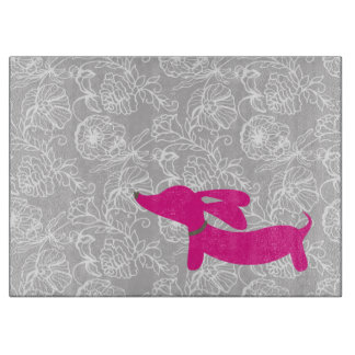 Pink Dachshund Cutting Board