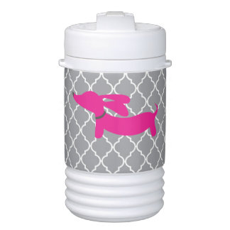 Pink Dachshund Igloo Cooler on Gray