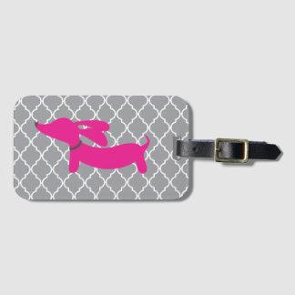 Pink Dachshund Luggage Bag Tag Gift