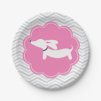 Pink Dachshund Paper Plate Doxie Baby Shower 7 Inch Paper Plate