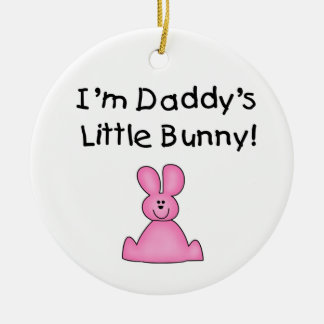 Pink Daddy's Little Bunny T-shirts and Gifts Round Ceramic Decoration