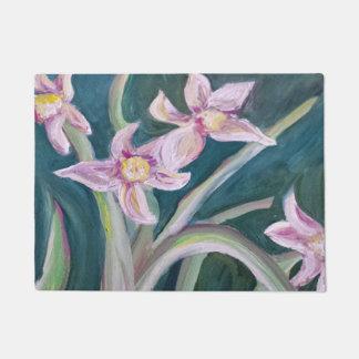 pink daffodils doormat