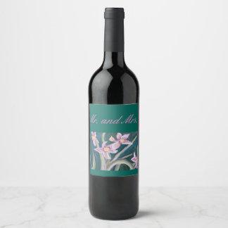 pink daffodils wine label