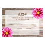 Pink Dahlia Barn Wood Wedding RSVP Response Card Personalised Invite