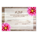 Pink Dahlia Barn Wood Wedding RSVP Response Card Personalised Invite