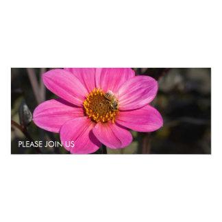 "Pink Dahlia & Bee 4"" X 9.25"" Invitation Card"