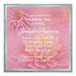 Pink Dahlia Birthday Party Custom Invites