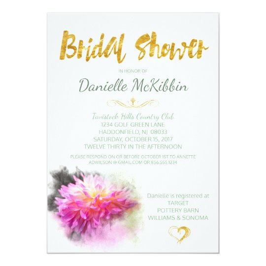 Pink Dahlia Bridal Shower Faux Gold Invite