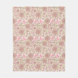 Pink dahlia, flamingo pattern Fleece blanket