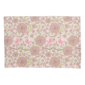 Pink dahlia, flamingo pattern Pillowcase