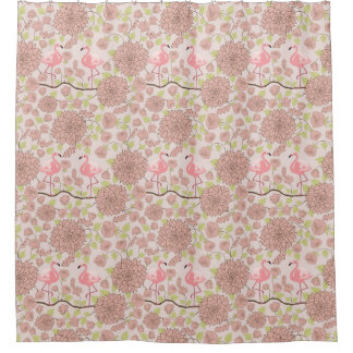 Pink dahlia, flamingo pattern Shower curtain