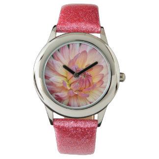 Pink dahlia floral print watch