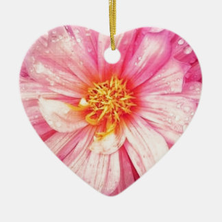 Pink Dahlia Flower Dble-sided Heart Ornanent Christmas Ornament