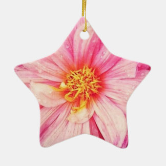 Pink Dahlia Flower Dble-Sided Star Ornament